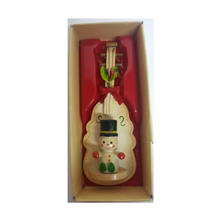 Russ Berrie Vintage Country Antique Ornament Wooden Cello/Double Bass Snowman - Country Snowman