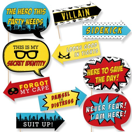 Funny BAM! Superhero - Baby Shower or Birthday Party Photo Booth Props Kit - 10 Piece - Superhero Party Ideas