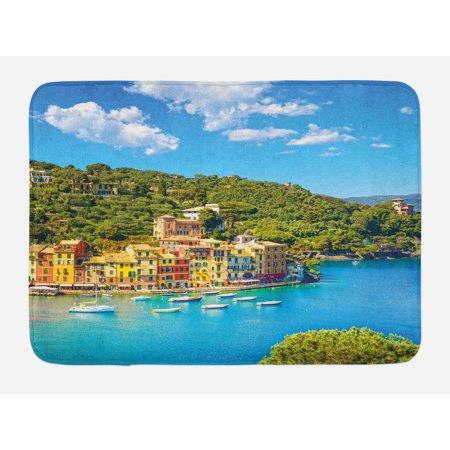 Italy Bath Mat, Portofino Landmark Aerial Panoramic View Village and Yacht Little Bay Harbor, Non-Slip Plush Mat Bathroom Kitchen Laundry Room Decor, 29.5 X 17.5 Inches, Blue Green Yellow,
