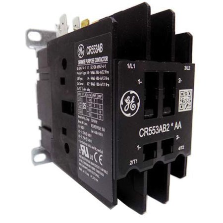GE Industrial CR553AB2AAA 2 Pole Open Type CR553 Series Full Voltage Definite Purpose Contactor 25 Amp 115 - 120 Volt AC 2 Pole Contactor Type