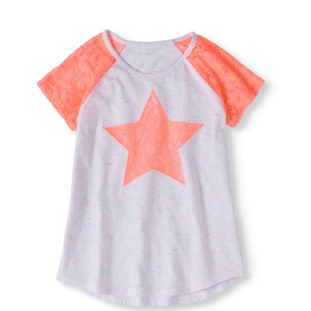 Girls' Lace Applique and Sleeve Top