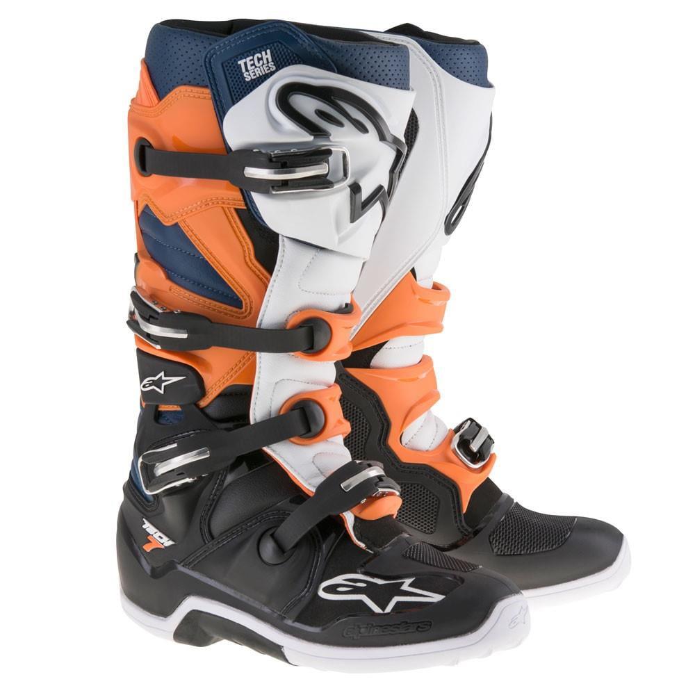 Alpinestars Tech 7 Boots Black/Orange/Blue/White