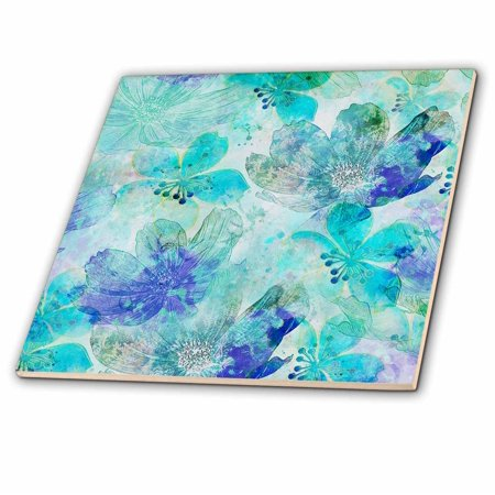 3dRose Mixed media art abstract flower patter turquoise blue - Ceramic Tile, 6-inch (Ceramic Tiles Turquoise)