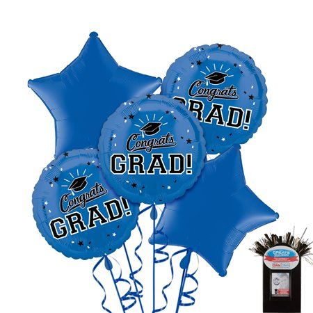 Party City Congrats Grad Graduation Star Balloon Kit, Includes Balloons, Ribbon, and a Photo Balloon Weight