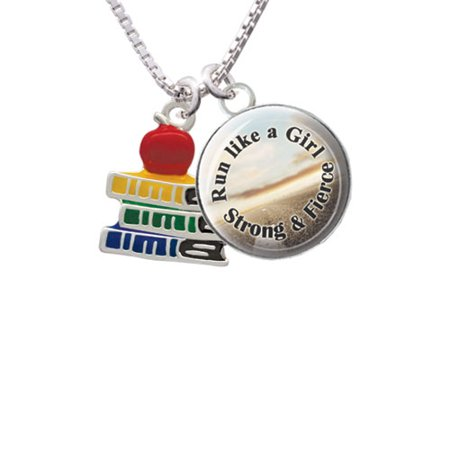 Enamel School Books with a Red Apple Run Like a Girl Glass Dome Necklace, 18