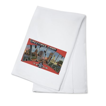 Austin, Texas - Large Letter Scenes (100% Cotton Kitchen (Cotton Letter)