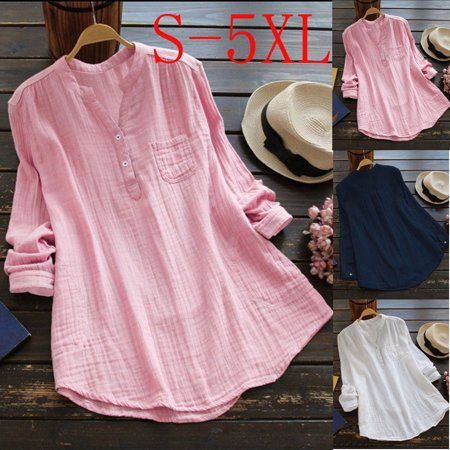 Women Retro V Neck Long Sleeve Casual Loose Baggy Tunic Tops Blouse Plus Size S-5XL
