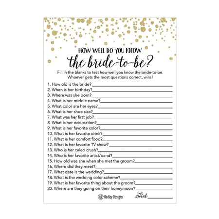 25 Black and Gold How Well Do You Know The Bride Bridal Wedding Shower or Bachelorette Party Game, Who Knows The Best, Does The Groom? Couples Guessing Question Set of Cards Pack, Printed Engagement (Halloween Costumes Bride And Groom Corpse)