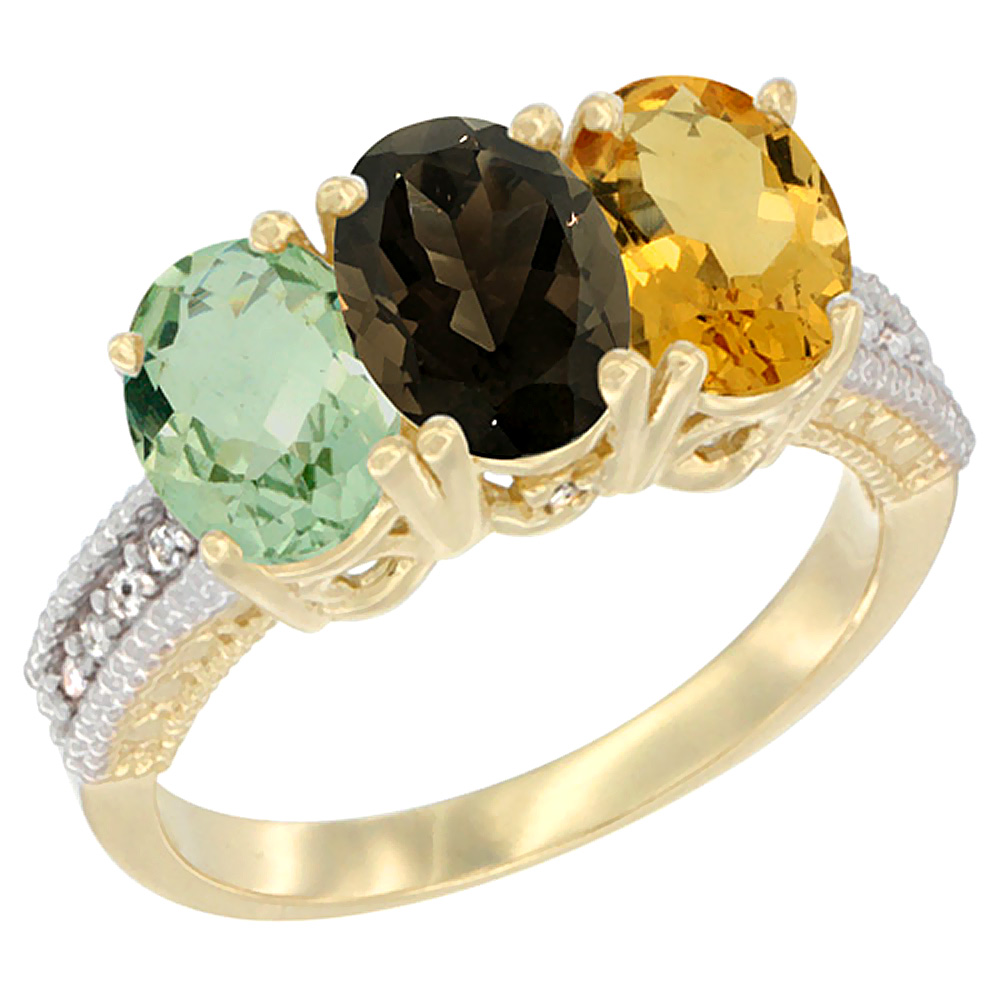 10K Yellow Gold Diamond Natural Green Amethyst, Smoky Topaz & Citrine Ring Oval 3-Stone 7x5 mm,sizes 5-10 by WorldJewels