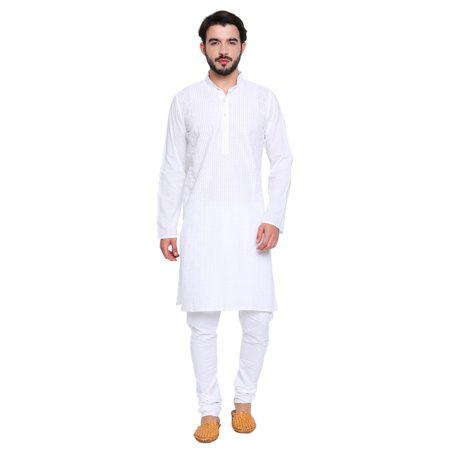 Shatranj Men's Indian Banded Collar Long White Tunic Kurta With High