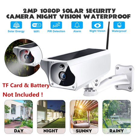 HD 1080P 2MP Waterproof Outdoor Solar Security Camera Wireless WIFI IP Camera Night Vision PIR Detection for Android/IOS Phone Patio Driveway (TF Card & Battery Not