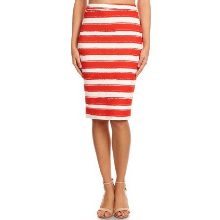 66041f66d9 Moa Collection - Women's Striped Knee Length Pencil Skirt - Walmart.com