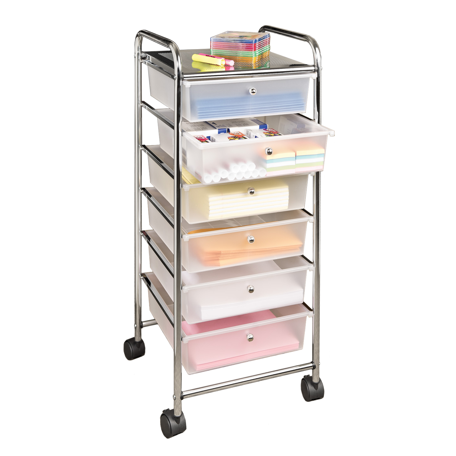 Large 6-Drawer Storage Bin Organizer Cart, Frosted White by Seville Classics