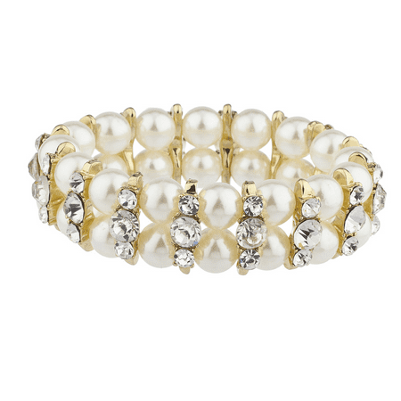 2 Row Stretch Bracelet - Lux Accessories Gold Tone Faux Pearl Crystal Rhinestone Two Row Stretch Bracelet