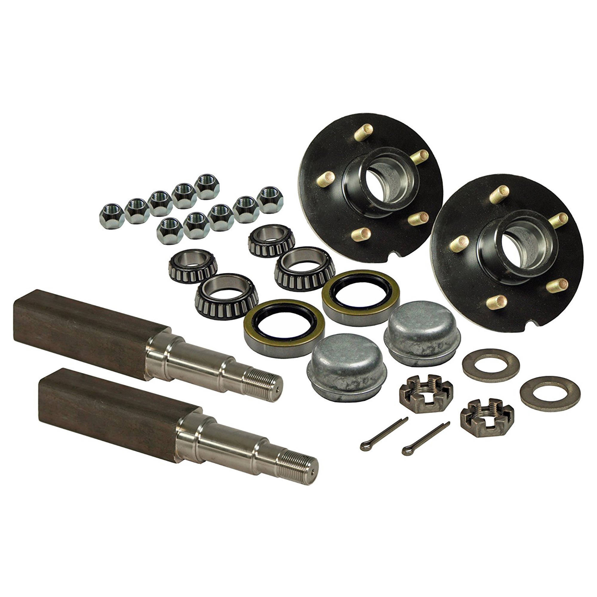 Pair of 5-Bolt On 4-1/2 Inch Trailer Hub Assemblies - Includes (2) Square Stock 1-3/8 Inch To 1-1/16 Inch Tapered Spindles & Bearings