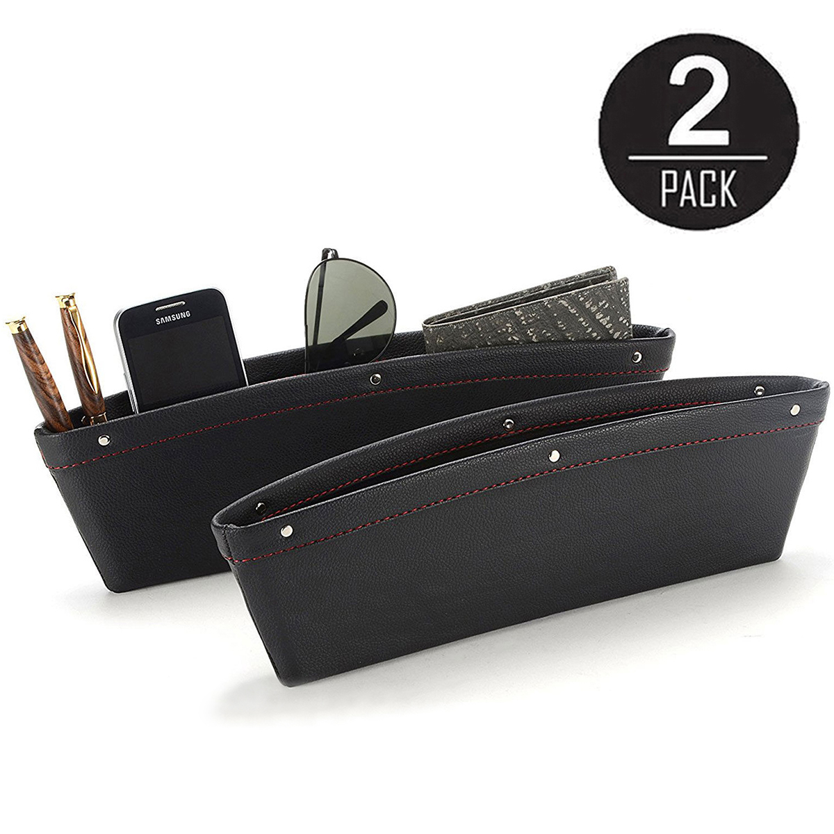 Stop Before It Drops Passenger Side Car Seat Organizer Caddy Slit Gap Filler PU Leather KOBWA Console Side Pocket with Coin Organizer /& Cup Holder /& 2 USB Charging Ports
