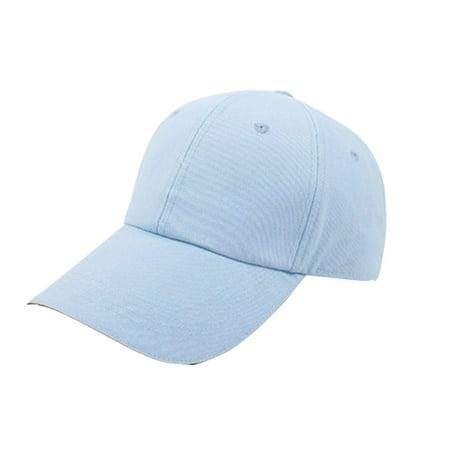 Pro Space Cotton Adjustable Flat Caps Work Hat Baseball Unisex Plain Hat (Blue) Pro Cotton Cap