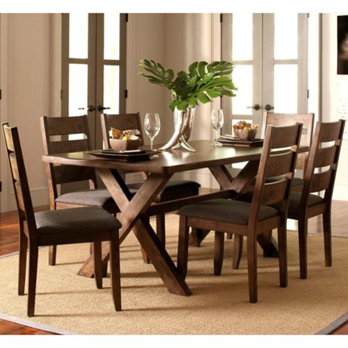 A Line Furniture Milano Rustic Knotty Shaped Edge Ladder Back Dining Set