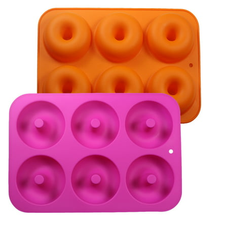 Uarter 2 Pcs Silicone Donut Baking Pan Silicone Donut Molds Donut Baking Tray with 6 Cavity, Ideal for Cake, Biscuit, Bagels and Muffins, Orange and Rose (Lee Precision 9 Mm 6 Cavity Mold Silver)