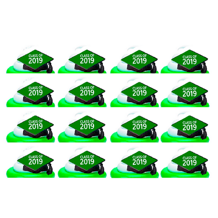 Class of 2018 Graduation Green Easy Toppers Cupcake Decoration Rings -24pk