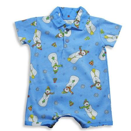 Pepper Toes by Baby Lulu - Baby Boys Short Sleeve Snowman Romper BLUE / 18 - Baby Lulu At Halloween