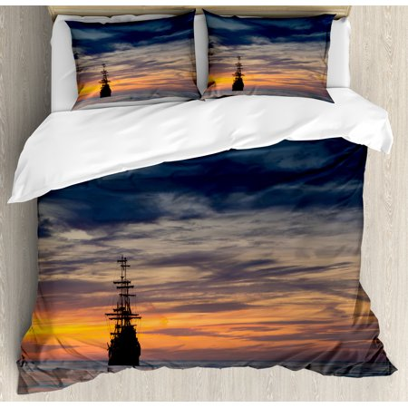 Pirate Ship King Size Duvet Cover Set, Old Sailboat in Majestic Sunset Scenery Tropical Waters Maritime, Decorative 3 Piece Bedding Set with 2 Pillow Shams, Dark Blue Salmon Black, by (Sunset Water)