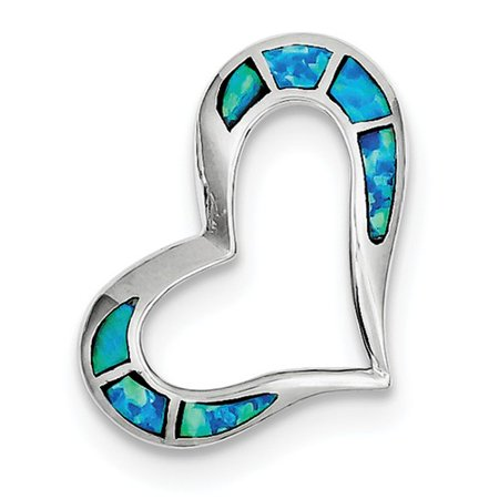Sterling Silver Blue Inlay Created Opal Heart Pendant (Inlay Rectangle Pendant)