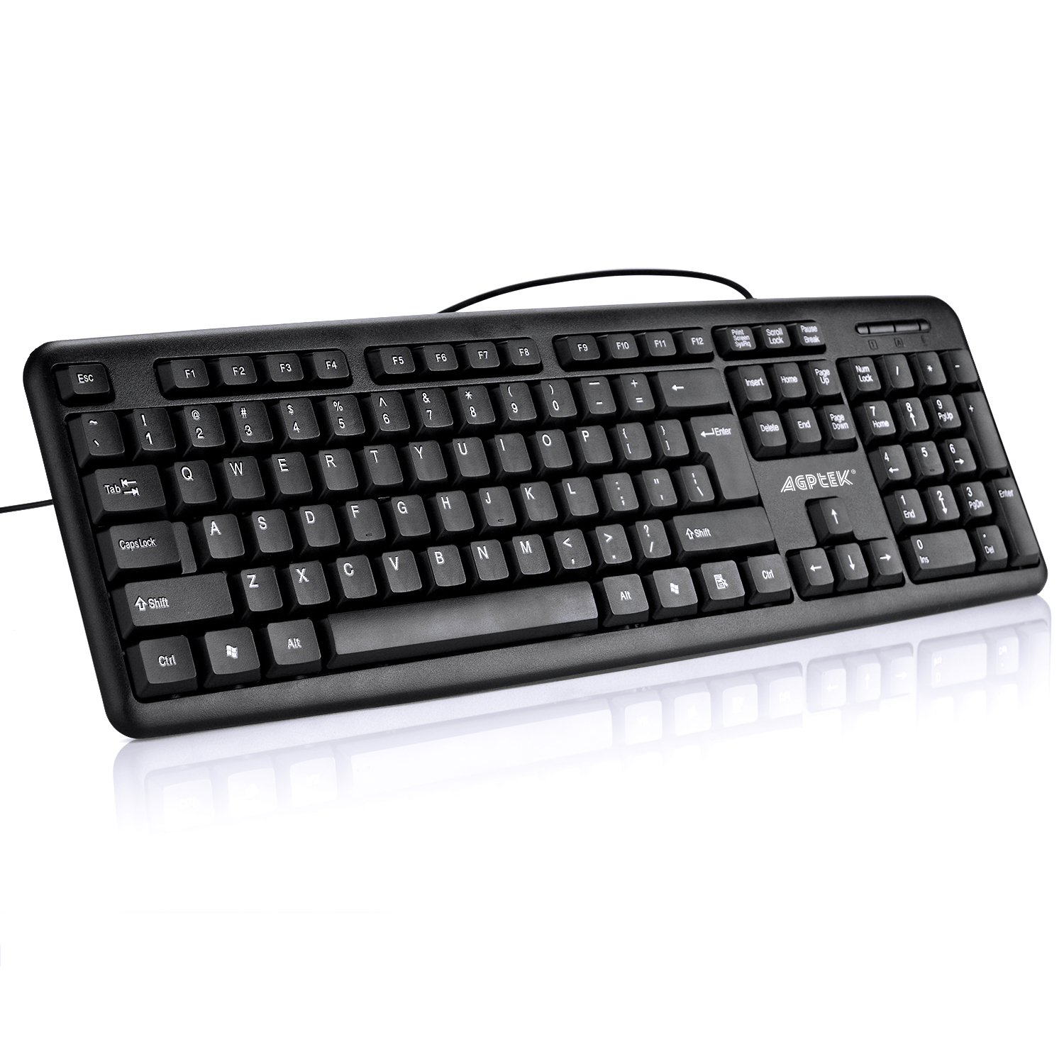 USB Wired Keyboard for Windows 10 / 8 / 7 / Vista / XP (Black)