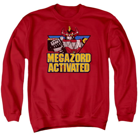 Power Rangers Megazord Activated   Adult Crewneck Sweatshirt   Red   Xl