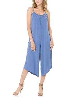 SSOULM Women's Pleated Spaghetti Strap Wide Leg Palazzo Capri Jumpsuit with Plus Size