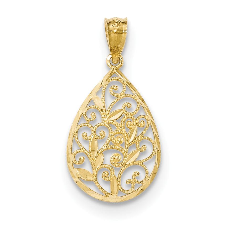 14k Yellow Gold Polished /& Textured Small Filigree Teardrop Pendant