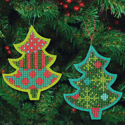 "Jolly Tree Ornaments Felt Counted Cross Stitch Kit, 4"" x 5-1/8"", 9-Count"