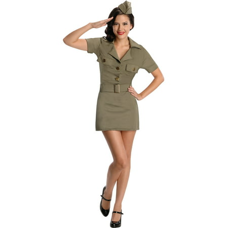 Army Girls Costume (Womens Adult  Green 40s Army Infantry WW2 GI G.I. Girl Costume Large)