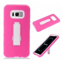 For Samsung Galaxy S8 Case G950 Symbiosis Armor Hybrid Silicone Phone Cover Hard Plastic w/ Stand (White/Pink)