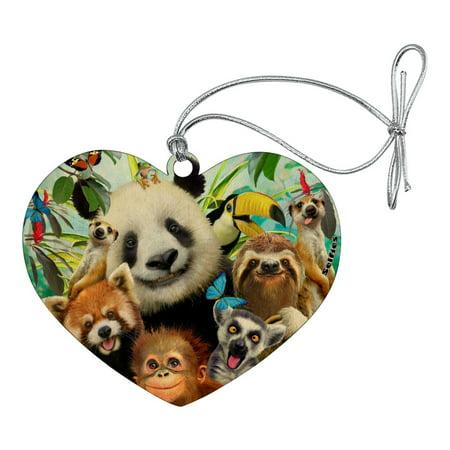 Zoo Animals Selfie Panda Bear Sloth Meercat Monkey Lemur Heart Love Wood Christmas Tree Holiday Ornament ()