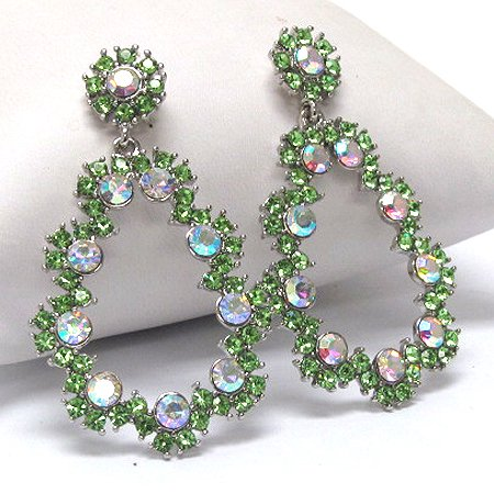 Large 60's Antique Style Green Crystal Flower Dangle Post (Crystal Post Style Earrings)