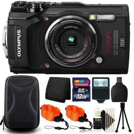 Olympus Optical Camcorder - Olympus Tough TG-5 4x Optical Zoom Waterproof Digital Camera Black With 32GB Kit