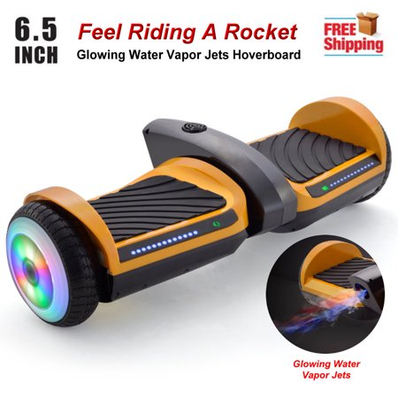 6.5'' Bluetooth Rocket Hoverboard with Glowing Water Vapor Jets , Space Sound Effect & LED Flash Wheel Gold (Glowing Bicycle Wheels)