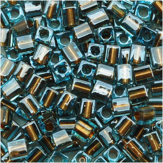 Miyuki 4mm Glass Cube Beads Bronze Lined Blue Crystal #2642 10 Grams