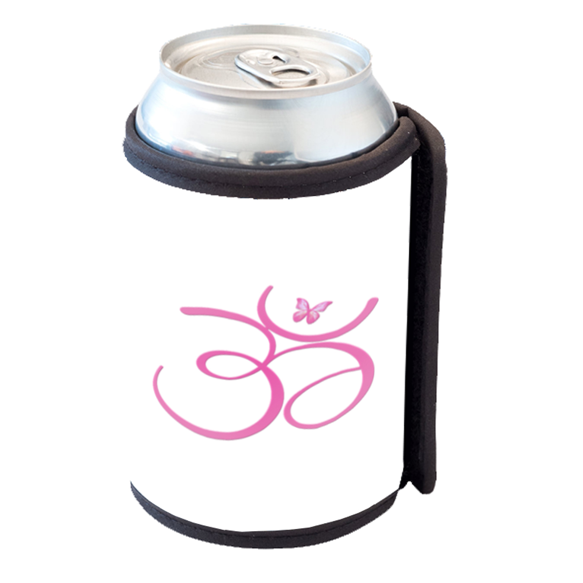 KuzmarK Insulated Drink Can Cooler Hugger - Om Pink Butterfly