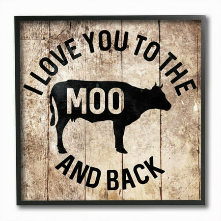 Stupell Industries The Moo And Back Funny Cow Farm Wood Texture Word Design Framed Wall Art by Milli Villa