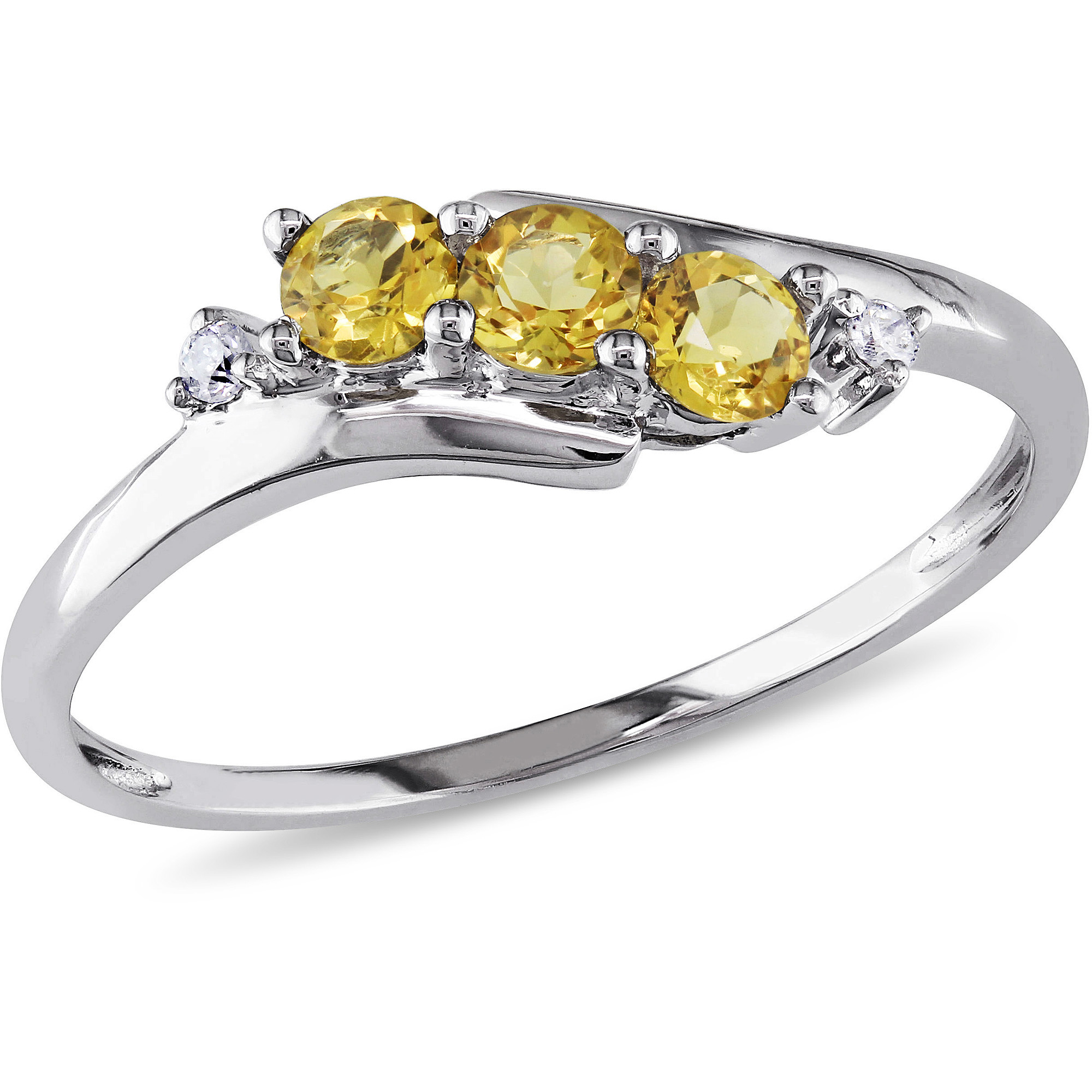 1 3 Carat T.G.W. Citrine and Diamond-Accent 10kt White Gold Three Stone Ring by Generic