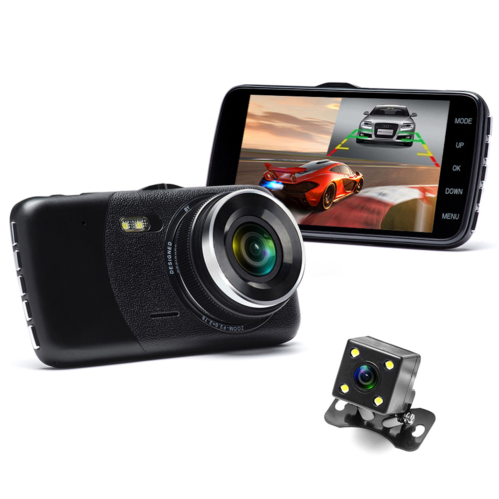 Podofo 4.0 inch Dual Lens Car Dvrs Full HD 1080P Car Dvr Video Recorder Car Camera Dash Cam Support Rear View Backup Camera