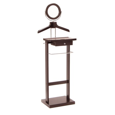 Valet Stand with Drawer and Mirror, Espresso