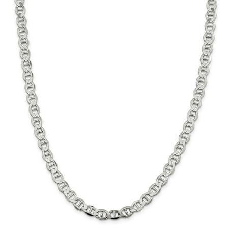 Lex & Lu Sterling Silver 7.1mm Polished Flat Anchor Chain Bracelet or - Silver Unisex Bracelets