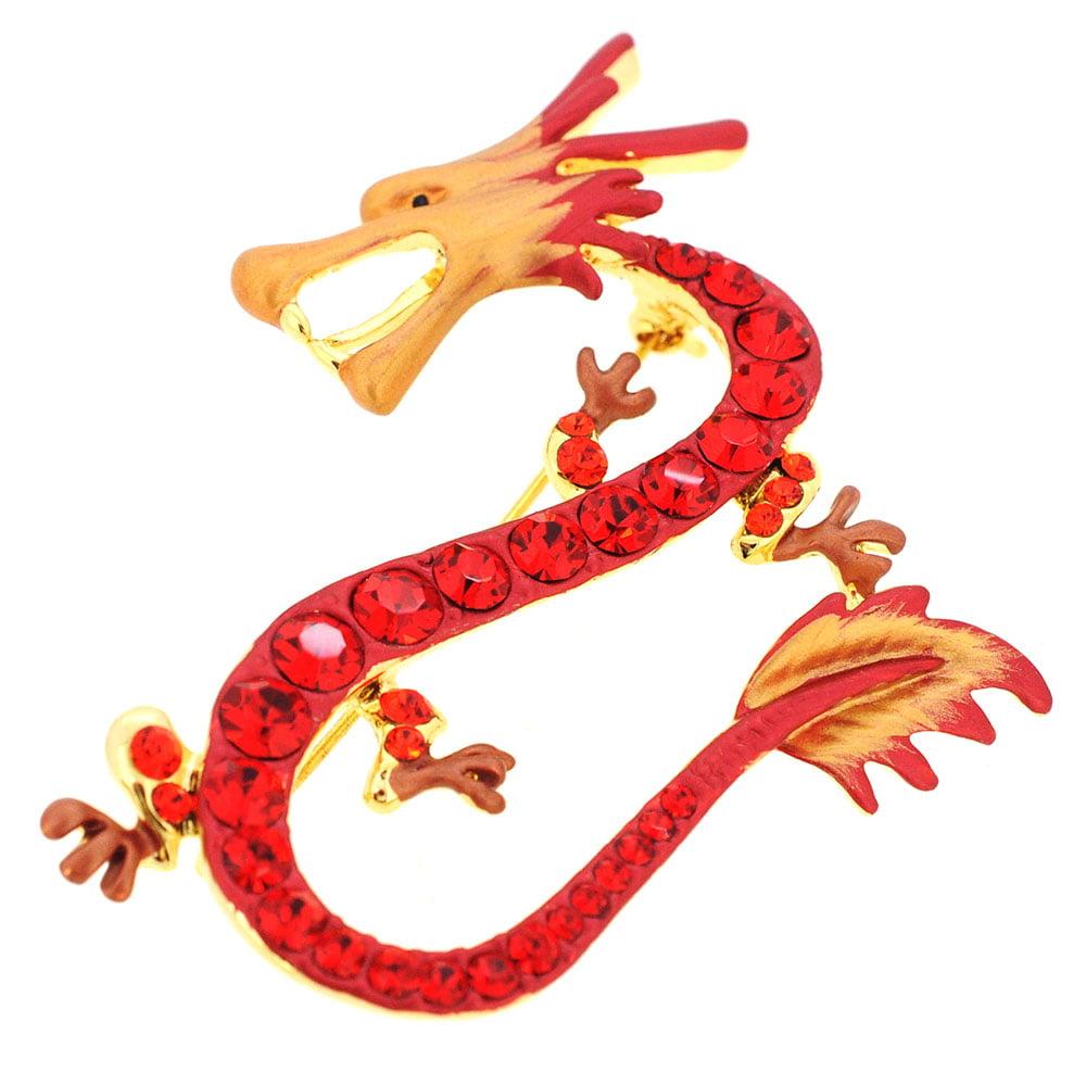 Ruby Red Dragon Swarovski Crystal Pin Brooch by