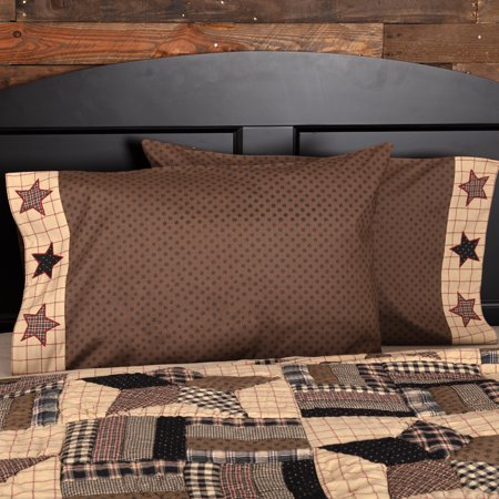 Chocolate Brown Classic Country Bedding Denton Cotton Appliqued Star Standard Pillow Case Set of