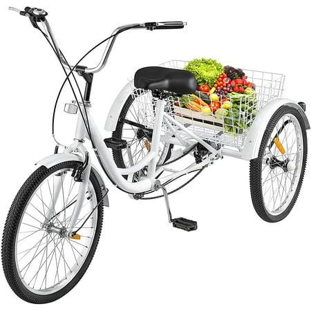 """BestEquip 24"""" Adult Tricycle Single Speed Three Wheel Cruise Bike Trike w/ Bell"""