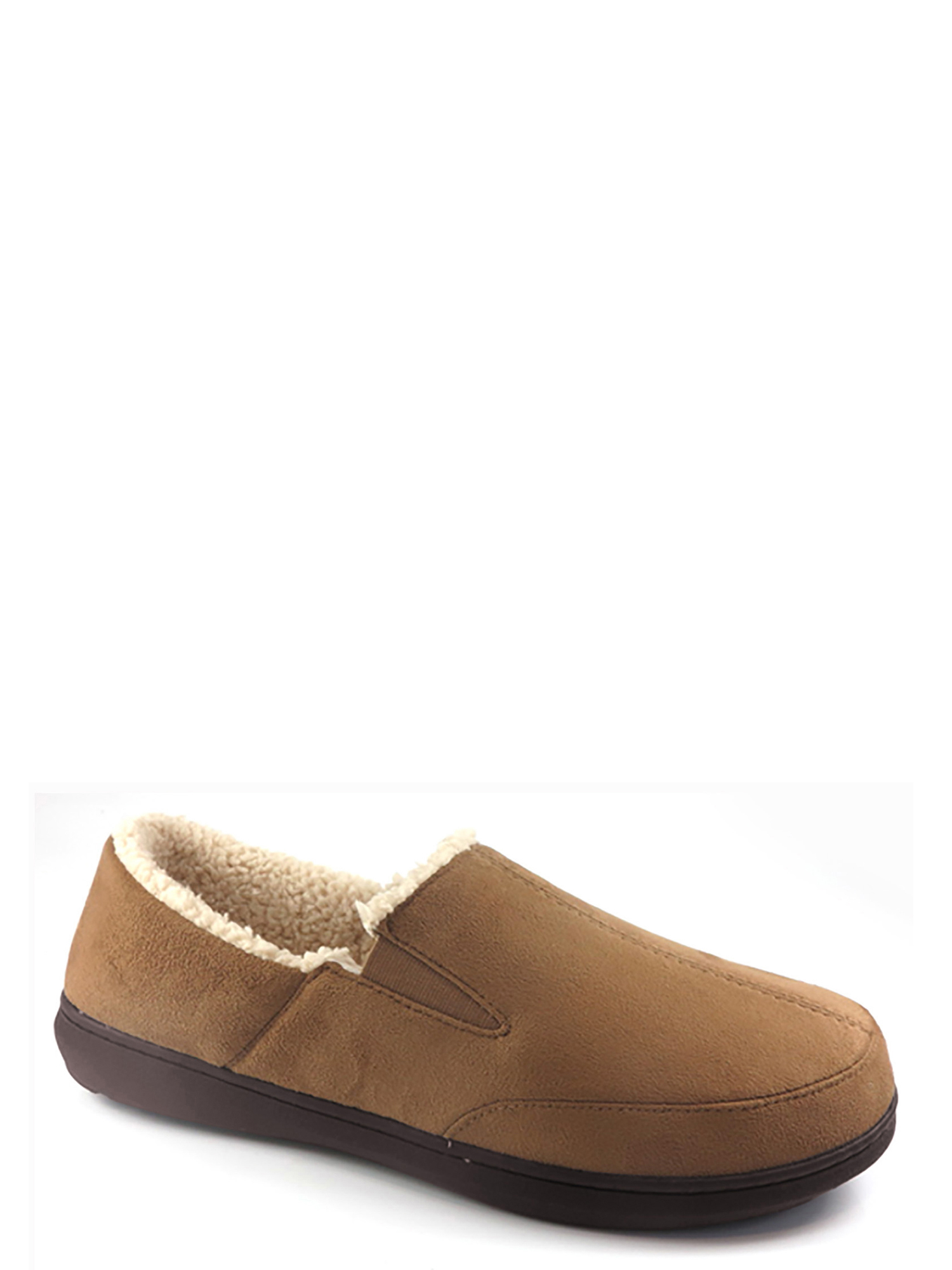 George Moccasin Slippers Mens Tie Brown Slip Loafer Sherpa New S Size