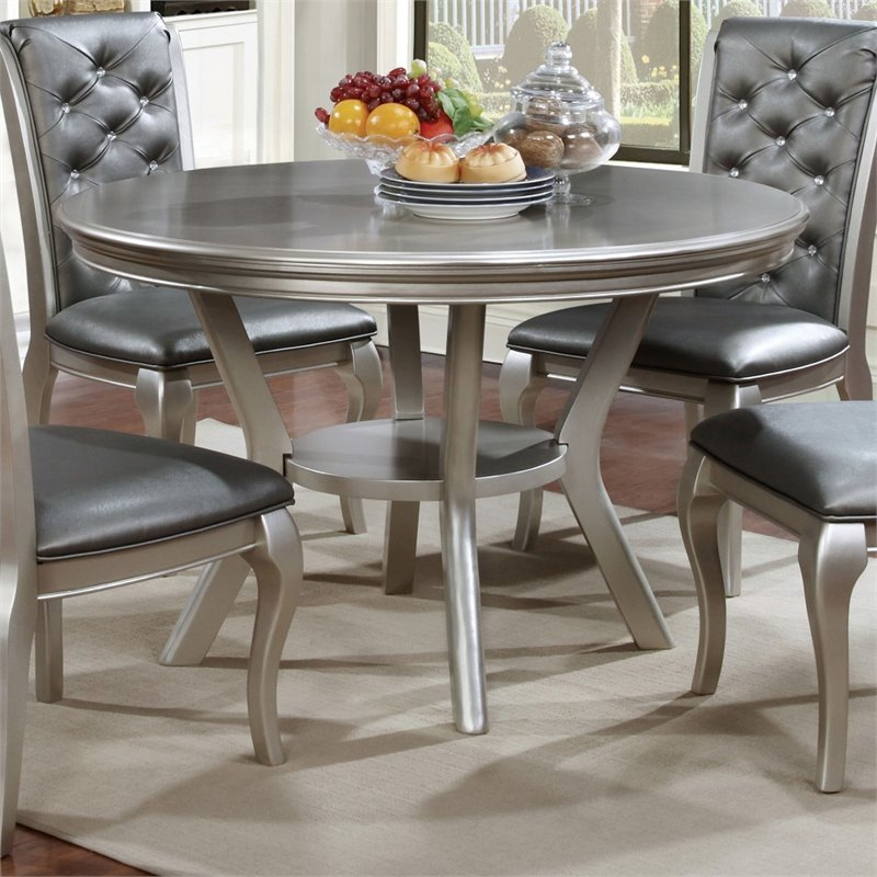 Furniture of America Deedra Round Dining Table in Silver
